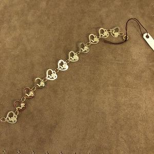 Vintage Accessories - Girls 5 Inch 14K Gold Hearts & Roses Bracelet